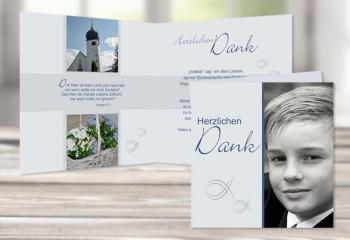 """Danksagungskarte Kommunion / Konfirmation """"Fisch"""""""