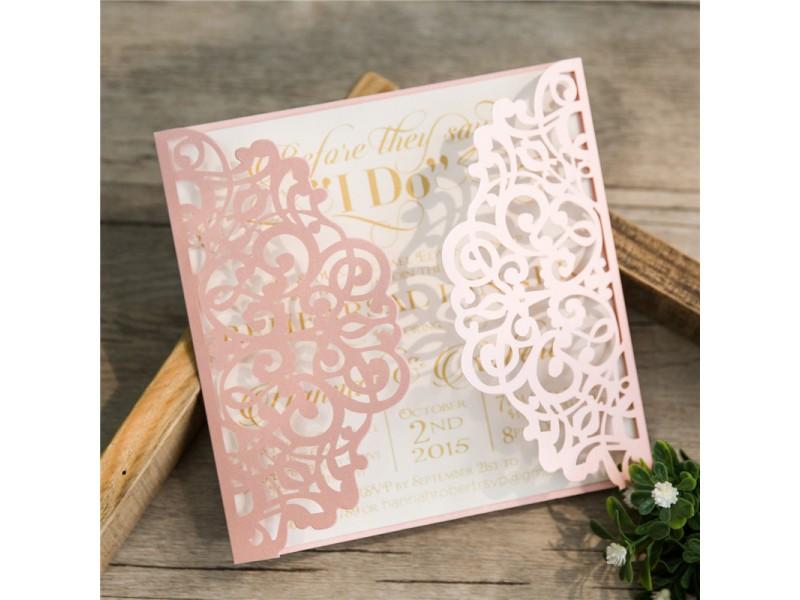 Lasercut Einladungskarte Hochzeit Traum In Rosa