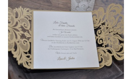 """Einladungskarte zur Hochzeit zweisprachig """"Goldpracht"""""""