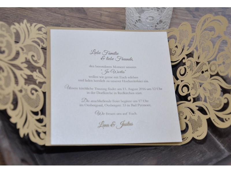Einladungskarte Zur Hochzeit Zweisprachig Goldpracht