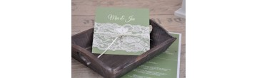 """Einladungskate Hochzeit """"elegante Spitze"""" in weiß"""