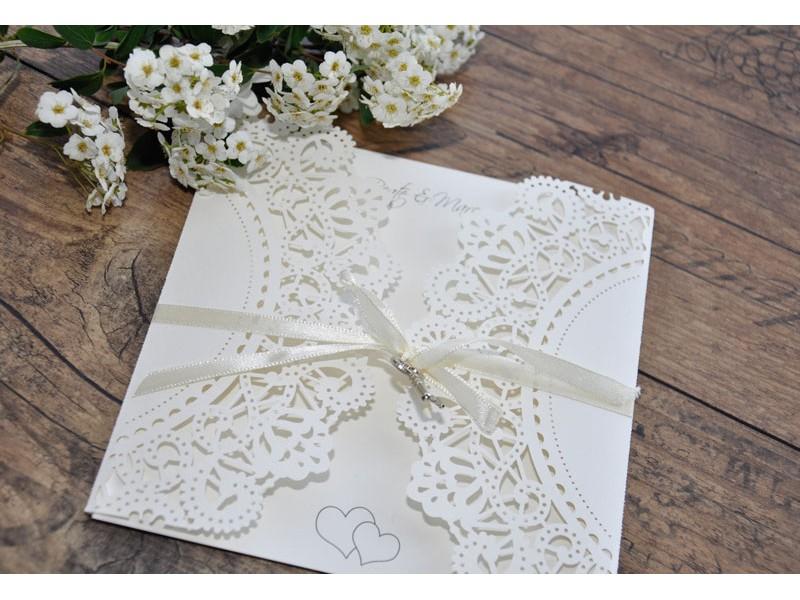 """Einladungskarte Hochzeit """"Elegantes Spitzenpocket"""""""