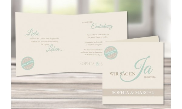 """Einladungskarte Hochzeit, moderne Pastellfarben """"mint"""""""