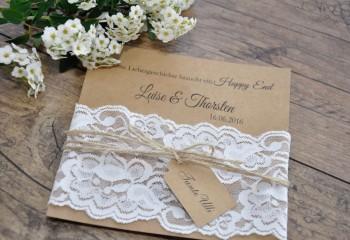"""Einladungskarte Hochzeit """"elegante Spitze"""" in weiß"""