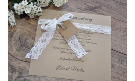 Einladungskate Hochzeit Vintage Kraftpapier mit Spitze