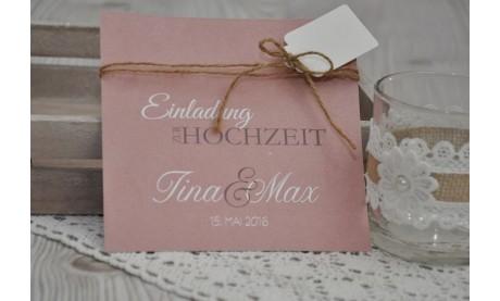 """Einladungskate Hochzeit """"Vintage"""" mit Spitzenschleife"""