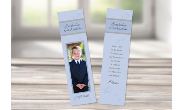 Lesezeichen Danksagung Kommunion / Konfirmation, 5x20 cm, braun blau