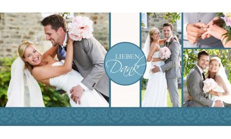 """Danksagungskarte Hochzeit """"Lieben Dank"""" taupe"""