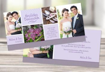 """Hochzeit Danksagungskarte """"Herzlich"""" lila flieder"""