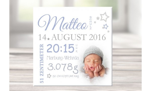 Wandbild Mit Geburtsdaten Foto Leinwand Personalisiert