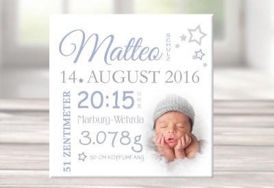 Wandbild mit Geburtsdaten & Foto, Leinwand personalisiert