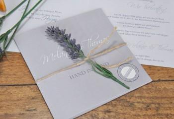 """Einladungskarte Hochzeit """"Lavendel"""" fliederfarben"""