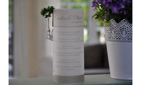 Windlicht / Transparentlicht als Menükarte, Speisekarte zur Hochzeit