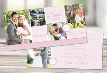"""Danksagungskarte Hochzeit """"Mädchentraum in rosa""""rosa"""