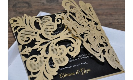 Einladungskarten Hochzeit gold schwarz Lasercut Spitze