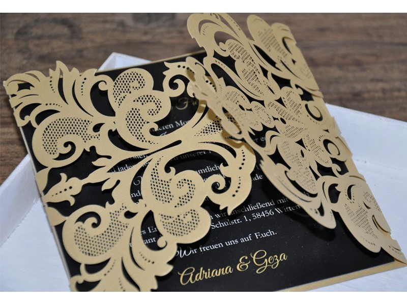 """einladungskarte zur hochzeit zweisprachig """"goldpracht"""", Einladungsentwurf"""