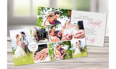 """Hochzeitsdanksagungskarten """"Collage"""" modern in pink"""