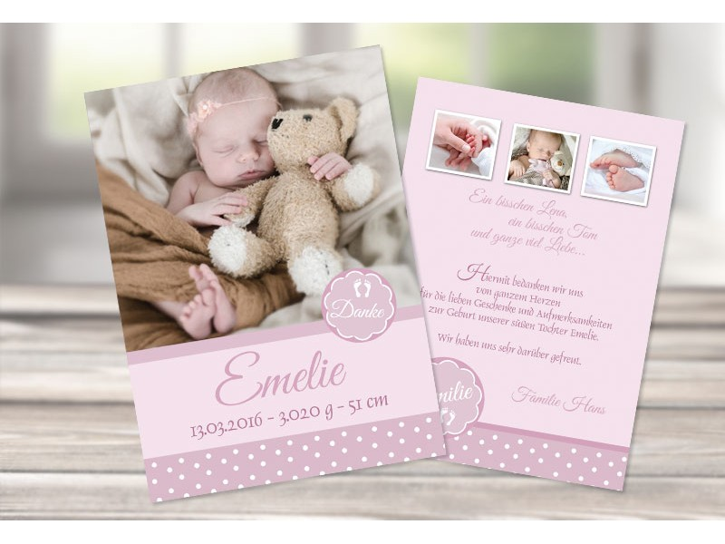 Dankeskarte geburt p nktchen in rosa for Vintage geburtskarten