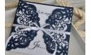 Hochzeitseinladungen Vintage mit edler Lasercut Spitze blau