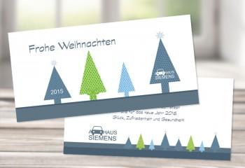 """Firmen Weihnachtskarte """"Moderne Tannen"""""""