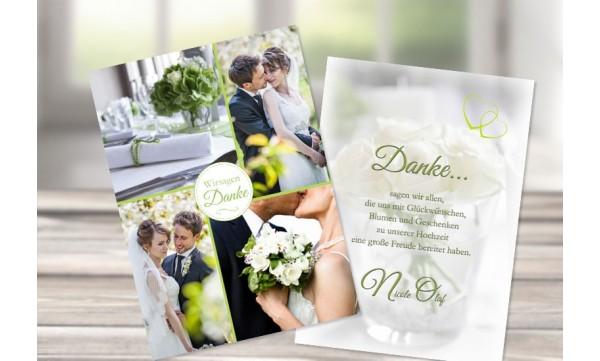 Dankeskarte Hochzeit, grün