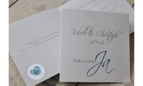 """Einladungskarte Hochzeit """"Wir sagen Ja"""", taupe petrol"""