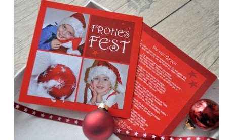 Flachkarte Weihnachten, Weihnachtskarte 2-seitig, 12,5x12,5 cm, Kinderlachen, rot