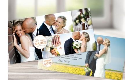 """Danksagungskarte Hochzeit """"Wir sagen Danke"""" altrosa"""