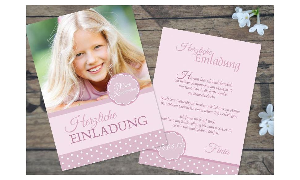 """Einladungskarten Konfirmation Kommunion """"rosa Pünktchen"""""""