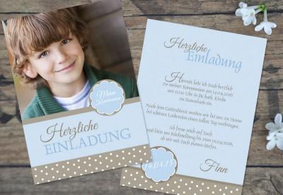 """Foto Einladung Kommunion """"Pünktchen"""" hellblau braun"""