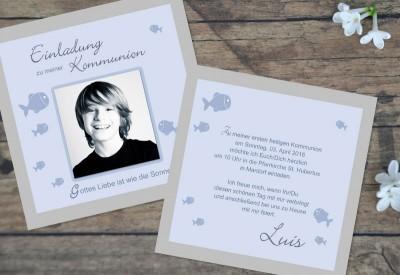 """Kommunionskarten Einladung """"Fisch"""""""
