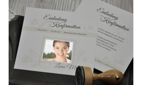 """Einladungskarte Konfirmation / Kommunion """"Schlichte Elegance"""""""