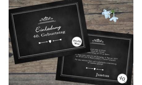 """Einladungskarten 40 Geburtstag """"Tafellook"""""""