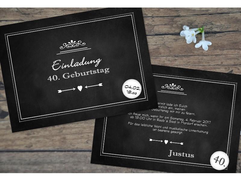 Einladungskarten Geburtstag 40 Einladungskarten 40: Einladungskarten 40 Geburtstag Tafellook