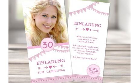 """Einladungskarte 30. Geburtstag """"Rosa Wimpel"""""""