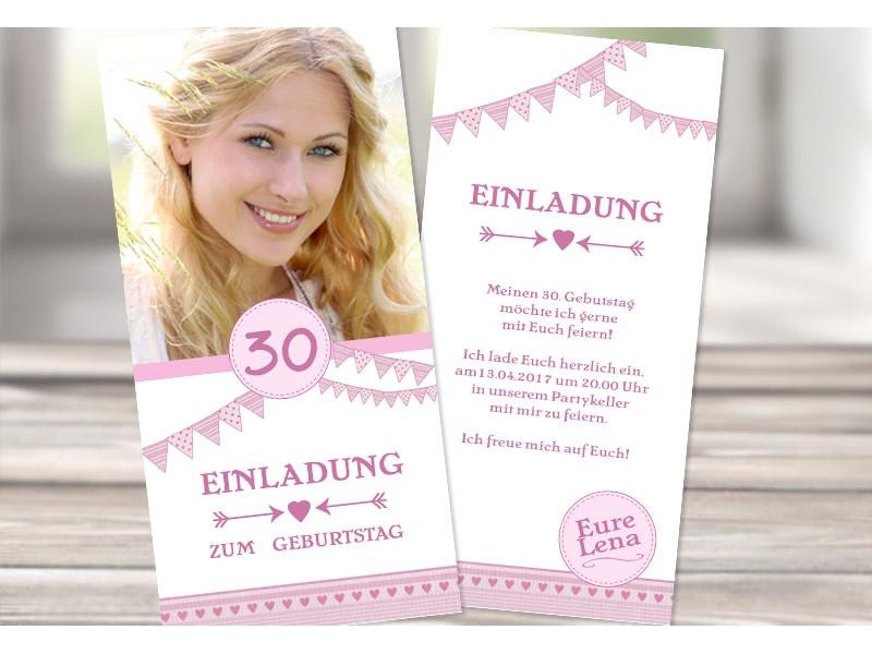 Einladungskarte 30 Geburtstag Rosa Wimpel