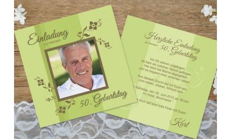 Einladungskarte 80. Geburtstag, zweiseitig, flieder