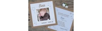 """Babykarte, Danksagung Geburt """"Luise"""", zweiseitig Quadrat, braun rosa"""