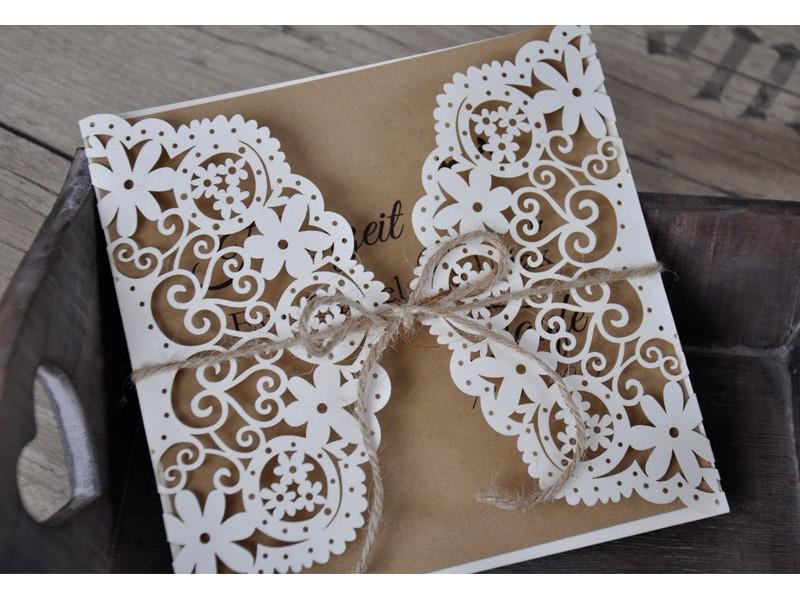 Hochzeitseinladungen Vintage Mit Edlem Lasercut