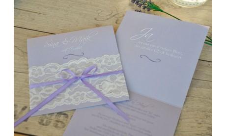 Hochzeitseinladung Vintage weiße Spitze diy