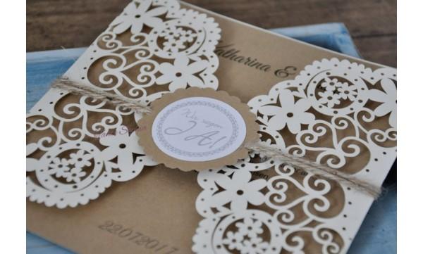 """Einladung Hochzeit Vintage """"Liebesbutton"""""""