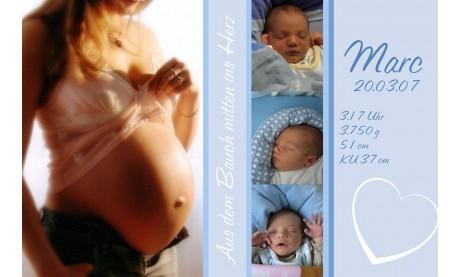 "Geburtsanzeige ""Marc"", Karte Geburt, 10x15 cm, hellblau"