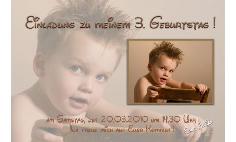 "Einladung Kindergeburtstag ""Julian"", Fotokarte 10x15 cm"