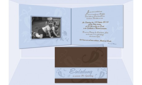 "Einladung Geburtstag ""Nicole+Melanie"", Klappkarte 10x15 cm, braun hellblau"