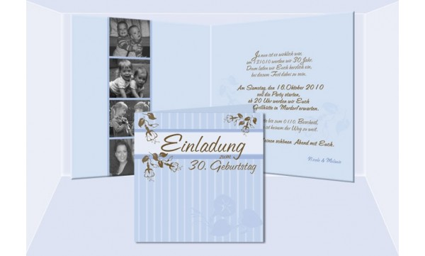 "Einladung Geburtstag ""Nicole+Melanie"", Klappkarte 12,5x12,5 cm, braun hellblau"
