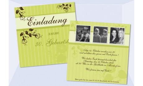 "Einladung Geburtstag, ""Nicole+Melanie"", Flachkarte 12,5x12,5 cm, grün"
