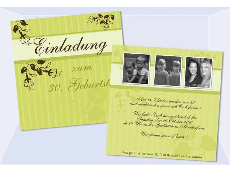 Einladung 30. Geburtstag, Geburtstagseinladung, Flachkarte, grün