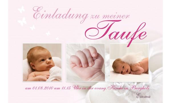 "Einladung Taufe ""Emma"", Taufeinladung, Fotokarte 10x15 cm, rosa"