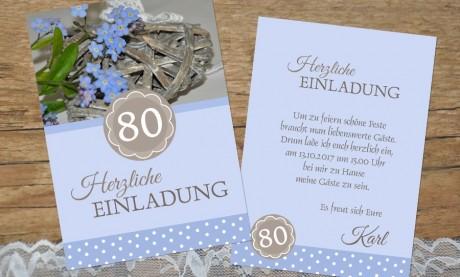 """Einladung zum 80. Geburtstag """"Rose"""" flieder"""
