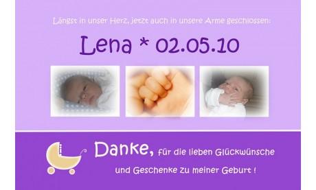 "Danksagung Geburt ""Lena"", Geburtskarte, 10x15 cm, lila"